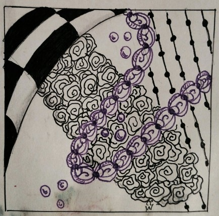 20140625 01 Zentangle 148 Pigma ink in black purple on bristol paper - Copy