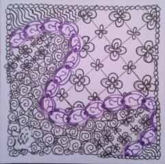 20141016 10 Zentangle 152 Pigma ink in black purple on bristol paper