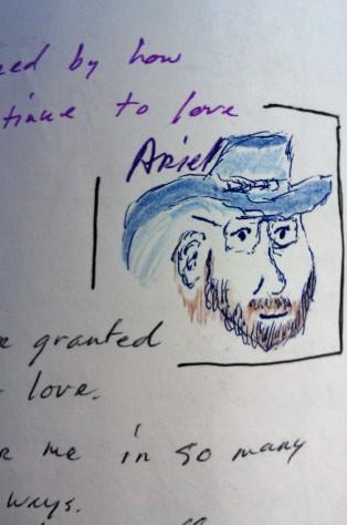 Arrin in Blue Hat ink & watercolor