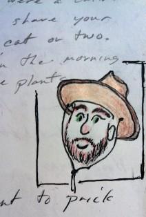 Arrin in BRown Hat ink watercolor