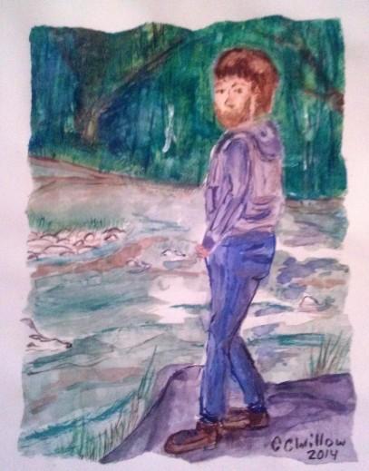 At River watercolor
