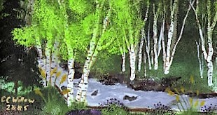 CC Willow acrylic Birches at Blowout Creek private collection