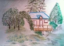 Cabin At Link Creek 11X15 oil crayon
