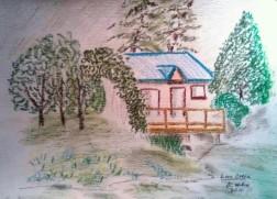 Cabin At Link Creek oil crayon
