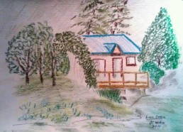 Cabin At Link Creek 11X15 oil crayon