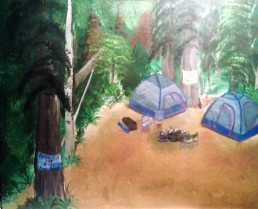 Camping In Timber Country acrylic In Progress