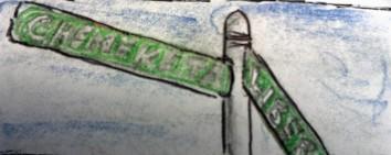 Chemeketa Street Sign ink & colored pencil
