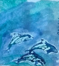 Three Dolphins watercolor