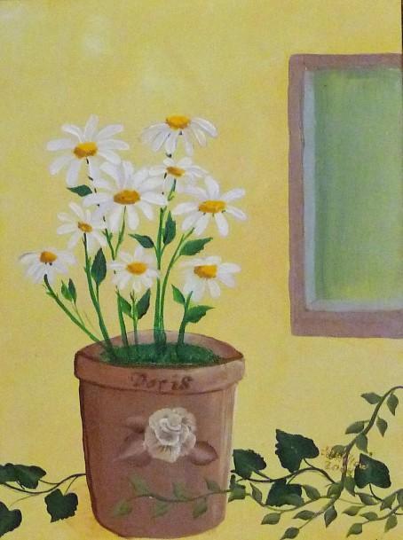 Doris' Daisies 12x16 acrylic
