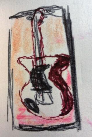 Doug's Guitar ink & colored pencil