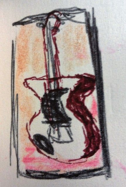 Doug's Guitar ink & colored pencil