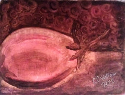 Eggplant in Burnt Umber acrylic [in Private Collection]