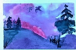 Evening Flight 4X5.5 watercolor