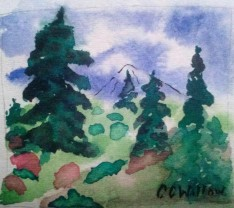 Fall Hillside watercolor