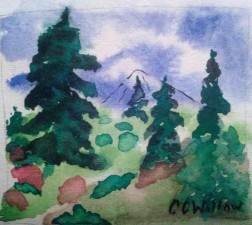 Fall Hillside watercolor