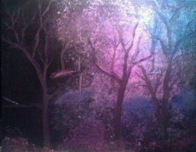Forest At Night 9x12 acrylic