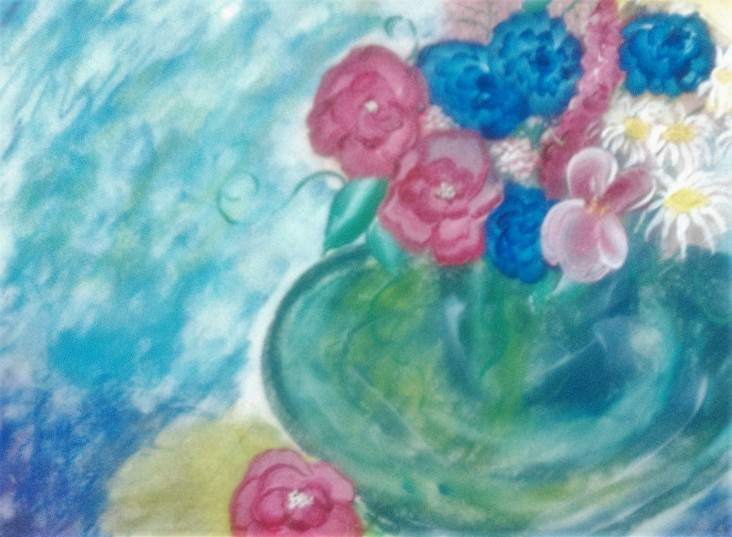 Green Vase acrylic and pastel