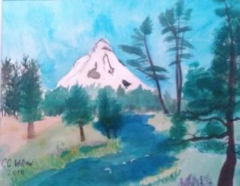 Headwaters of The Metolius 11X14 watercolor en plein aire