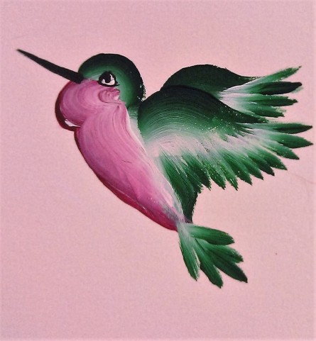 Hummingbird acrylic miniature (in Private Collection)
