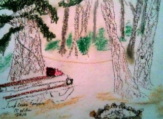 Link Creek Campsite oil crayon