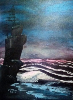 Midnight Beach acrylic (in private collection)