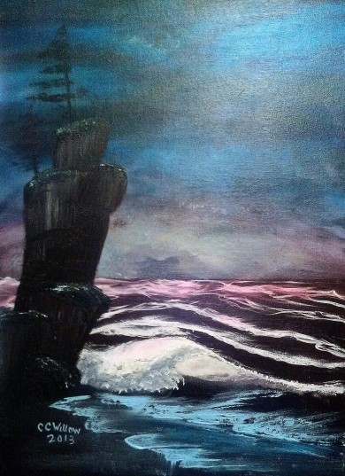 Midnight Beach 9x12 acrylic [in Private Collection]