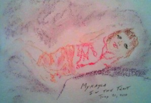 Makayla in Tent oil crayon