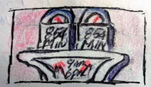 Parking Meter ink & colored pencil