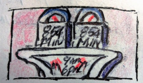 Parking Meter ink & colored pencil
