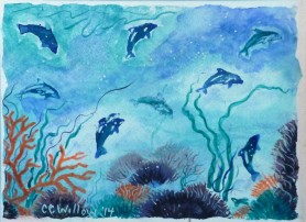 Playful Dolphins 9x12 watercolor