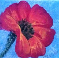 Poppy 2 2.5x2.5 acrylic miniature