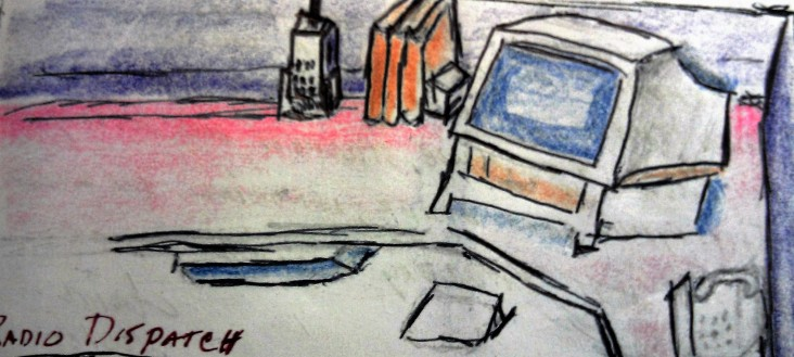 Radio Dispatch ink & colored pencil