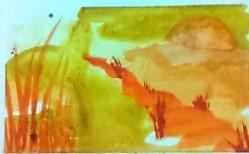 Setting Sun 4x5.5 watercolor