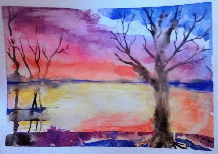 Sunset At The Slough watercolor