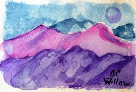 Sunset Hills 2 5.5x7 watercolor