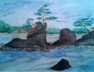 Three Brothers, Taft Bay watercolorX