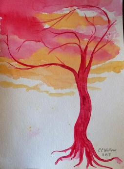 Tree at Sunset watercolor