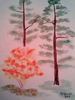 Trees at Silver Falls watercolor [in Private Collection]