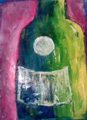 Wine Bottle acrylic {in Private Collection}