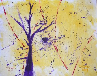 Yellow Abstract acrylic