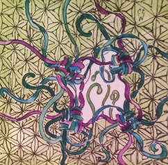 20170331a Zentangle 223 ink watercolor
