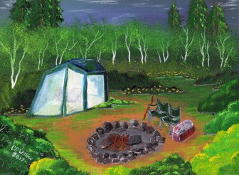 Birches Camp acrylic