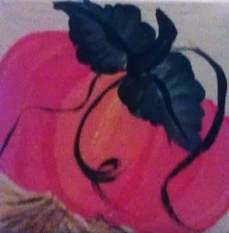 Pumpkin 1, 2.5x2.5 acrylic miniature