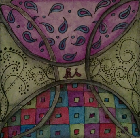 Quilted Greeting zentangle by CC Willow