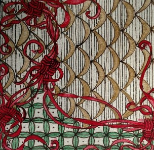 Red Ribbons Zentangle 278 by CC Willow