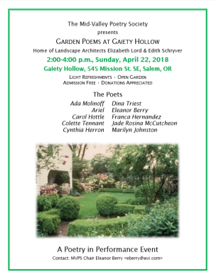 Garden Poems at Gaiety Hollow mar 22