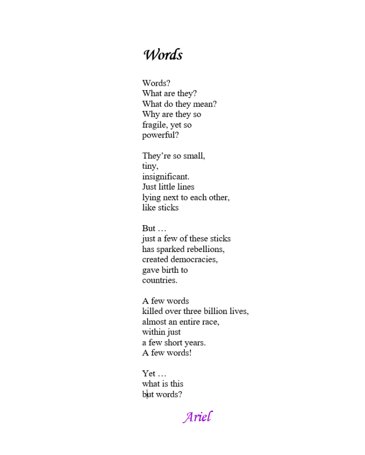 """Words"" by Ariel, Pacific NW poet."