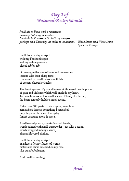 Day 2 of National Poetry Month by Ariel
