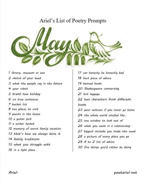 Ariels List of Poetry Prompts May  by Pacific NW poet ,Ariel