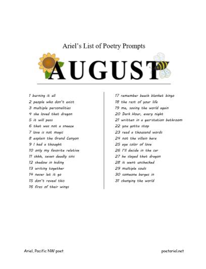 Ariels List of Poetry Prompts August by Pacific NW poet Ariel